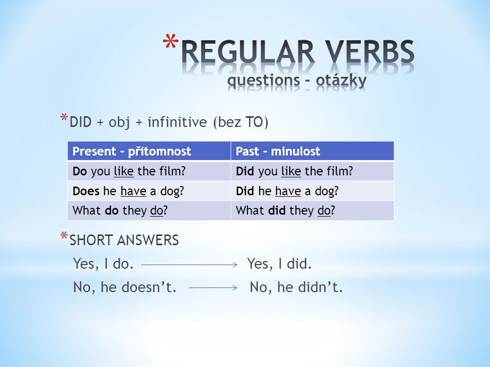 * DID + obj + infinitive (bez TO) * SHORT ANSWERS Yes, I do.