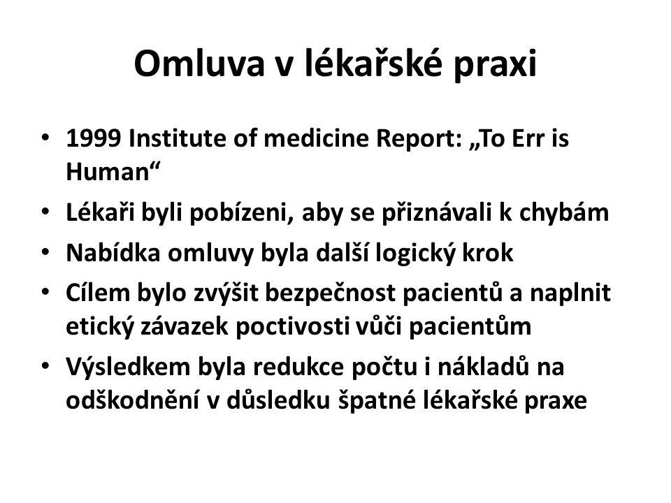 """1999 Institute of medicine Report: """"To Err is Human Lékaři byli pobízeni, aby se přiznávali k chybám Nabídka omluvy byla další logický krok Cílem bylo zvýšit bezpečnost pacientů a naplnit etický závazek poctivosti vůči pacientům Výsledkem byla redukce počtu i nákladů na odškodnění v důsledku špatné lékařské praxe"""