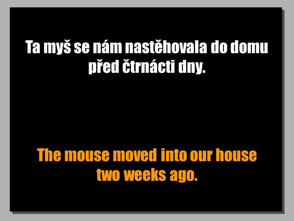 Ta myš se nám nastěhovala do domu před čtrnácti dny. The mouse moved into our house two weeks ago.