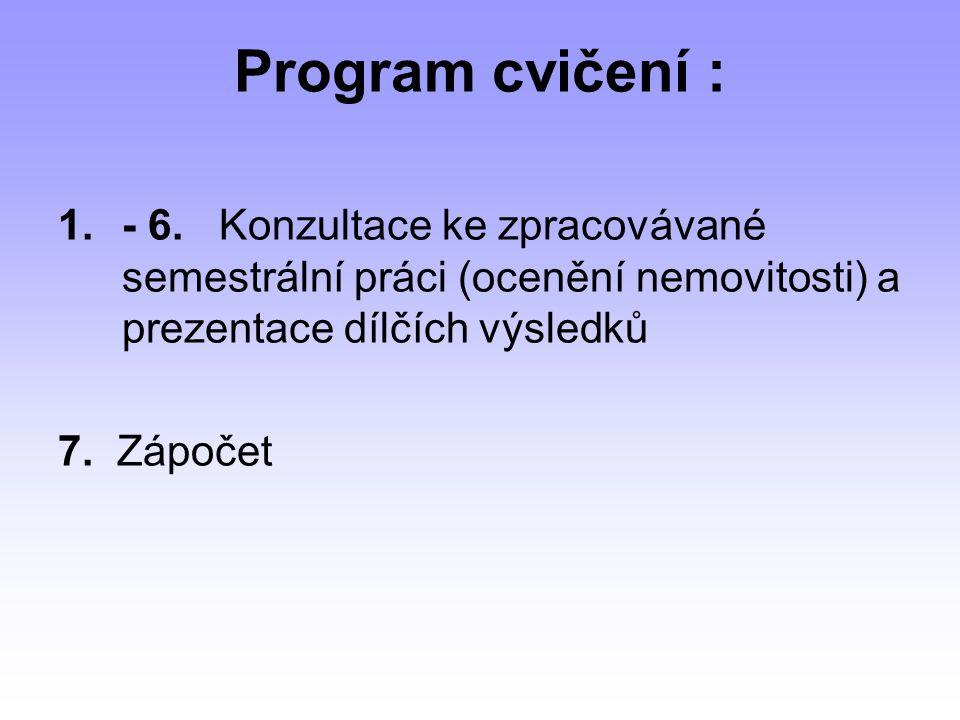 Program cvičení : 1.- 6.