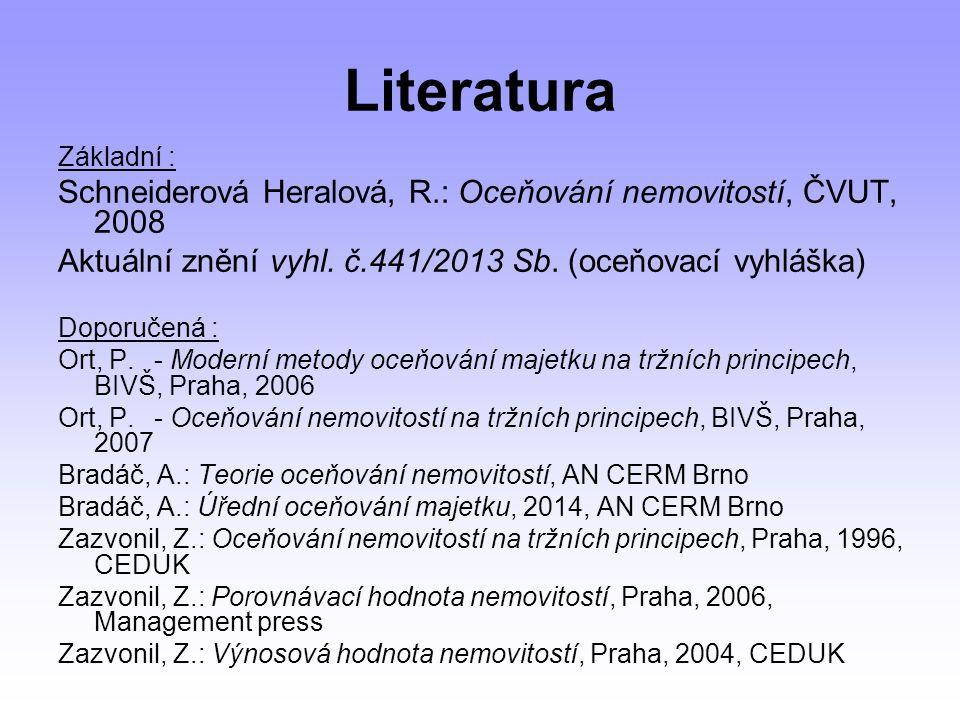 Literatura Základní : Schneiderová Heralová, R.: Oceňování nemovitostí, ČVUT, 2008 Aktuální znění vyhl.