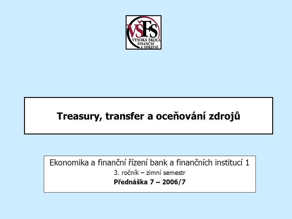 2006/7EBF 1/7 -Treasury, transfer a oceňování zdrojů12 Vybrané pojmy Pojmy: ALM Trading Banking book Trading book Treasury Pool – jednoduchý, vícenásobný Čistá a hrubá metoda vnitrobankovního přerozdělování Časová hodnota peněz Výnosová křivka IFTP – Internal Funds Transfer Pricing Opportunity rate Spread – rozpětí marže