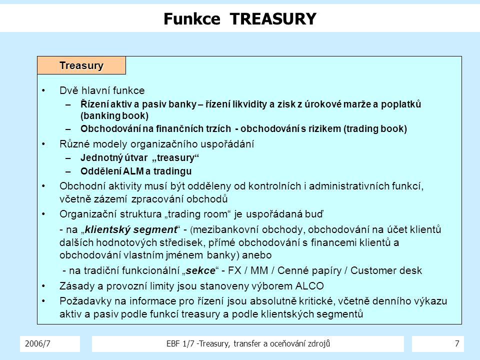 """2006/7EBF 1/7 -Treasury, transfer a oceňování zdrojů7 Funkce TREASURY Dvě hlavní funkce –Řízení aktiv a pasiv banky – řízení likvidity a zisk z úrokové marže a poplatků (banking book) –Obchodování na finančních trzích - obchodování s rizikem (trading book) Různé modely organizačního uspořádání –Jednotný útvar """"treasury –Oddělení ALM a tradingu Obchodní aktivity musí být odděleny od kontrolních i administrativních funkcí, včetně zázemí zpracování obchodů Organizační struktura """"trading room je uspořádaná buď - na """"klientský segment - ( mezibankovní obchody, obchodování na účet klientů dalších hodnotových středisek, přímé obchodování s financemi klientů a obchodování vlastním jménem banky) anebo - na tradiční funkcionální """"sekce - FX / MM / Cenné papíry / Customer desk Zásady a provozní limity jsou stanoveny výborem ALCO Požadavky na informace pro řízení jsou absolutně kritické, včetně denního výkazu aktiv a pasiv podle funkcí treasury a podle klientských segmentůTreasury"""