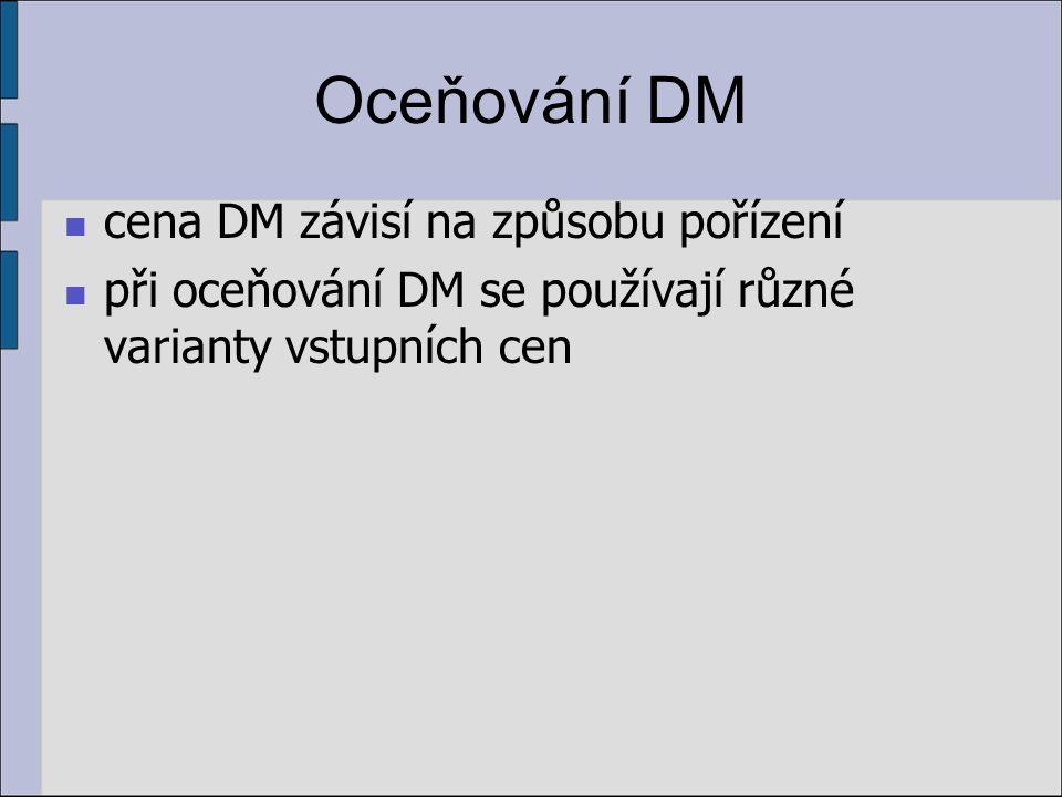 Oceňování DM cena DM závisí na způsobu pořízení při oceňování DM se používají různé varianty vstupních cen
