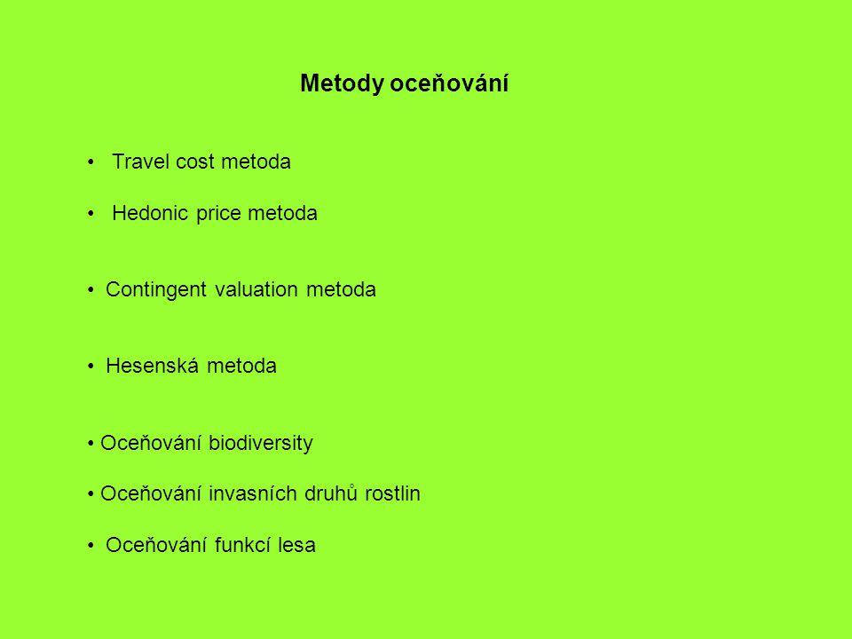 Metody oceňování Travel cost metoda Hedonic price metoda Contingent valuation metoda Hesenská metoda Oceňování biodiversity Oceňování invasních druhů rostlin Oceňování funkcí lesa