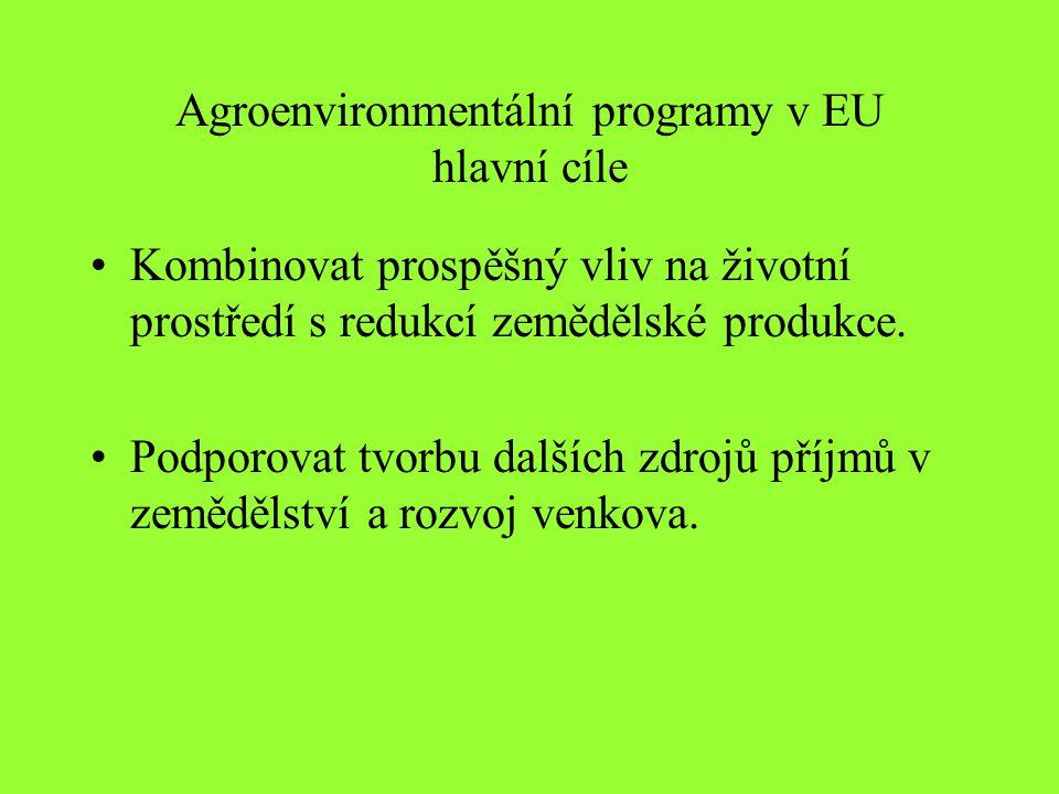 Agroenvironmentální programy v EU hlavní cíle Kombinovat prospěšný vliv na životní prostředí s redukcí zemědělské produkce.