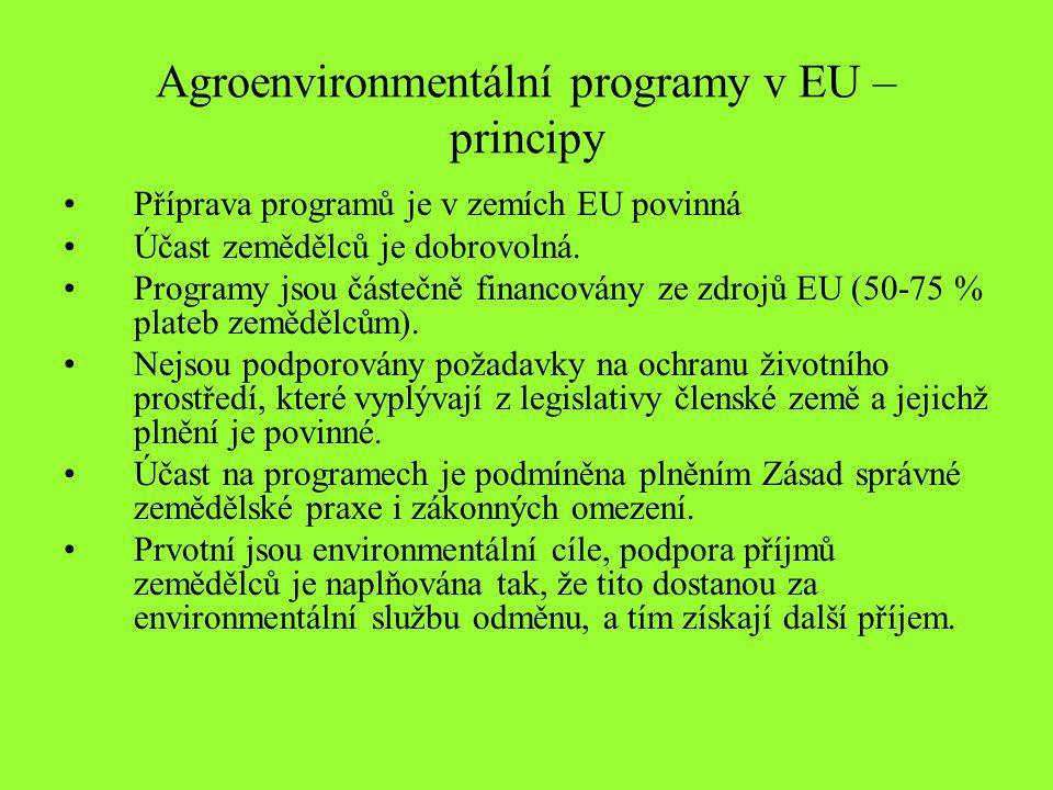 Agroenvironmentální programy v EU – principy Příprava programů je v zemích EU povinná Účast zemědělců je dobrovolná.
