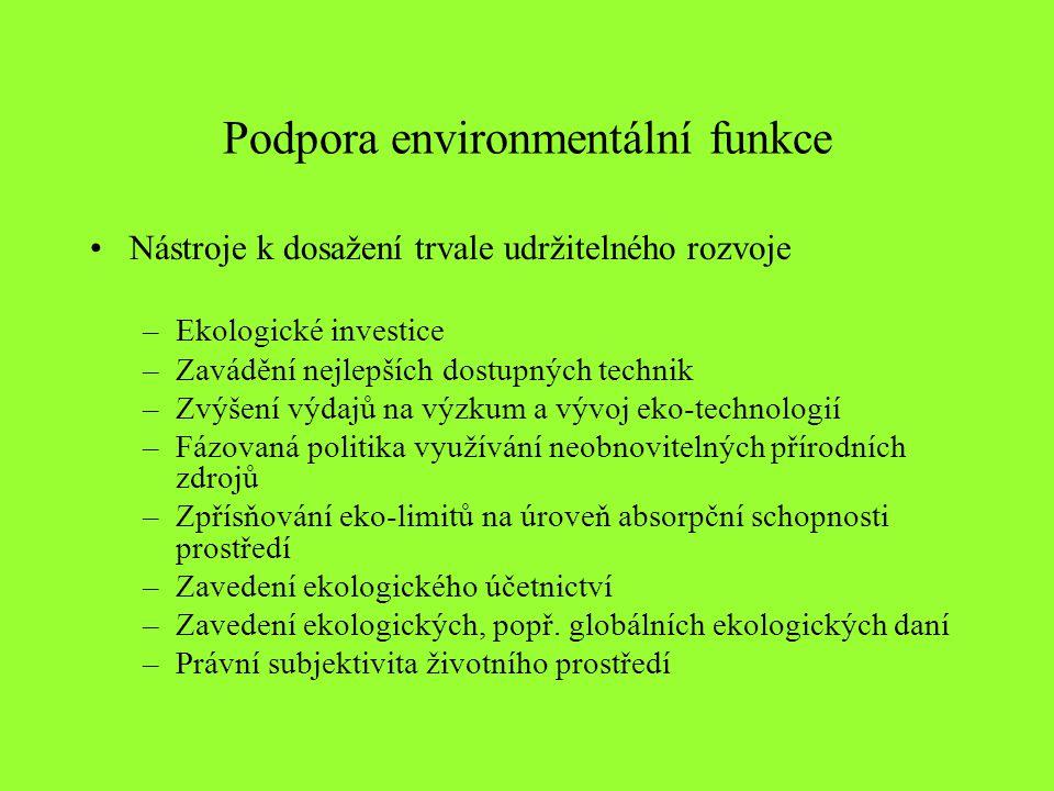 Podpora environmentální funkce Nástroje k dosažení trvale udržitelného rozvoje –Ekologické investice –Zavádění nejlepších dostupných technik –Zvýšení výdajů na výzkum a vývoj eko-technologií –Fázovaná politika využívání neobnovitelných přírodních zdrojů –Zpřísňování eko-limitů na úroveň absorpční schopnosti prostředí –Zavedení ekologického účetnictví –Zavedení ekologických, popř.