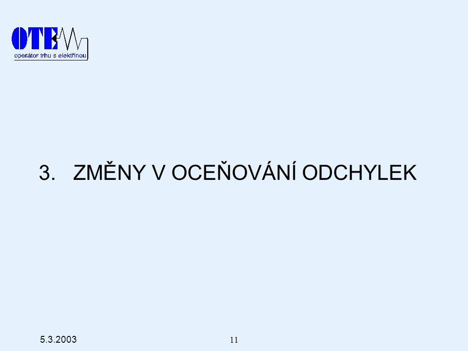 5.3.2003 11 3. ZMĚNY V OCEŇOVÁNÍ ODCHYLEK