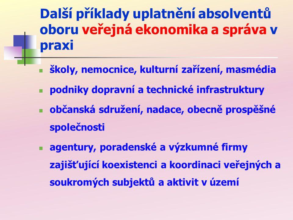 Vzdělávací činnost oborové katedry oboru veřejná ekonomika a správa katedry veřejné ekonomiky (katedra byla založená v roce 1993) na EkF VŠB-TUO garant oboru VES podíl na výuce dalších studijních oborů výuka v kurzech celoživotního vzdělávání mimo EkF VŠB-TU Ostrava spolupráce s jinými vysokými školami (členství v komisích pro státní závěrečné zkoušky, v oborových a vědeckých radách) vzdělávání pracovníků ve veřejné správě