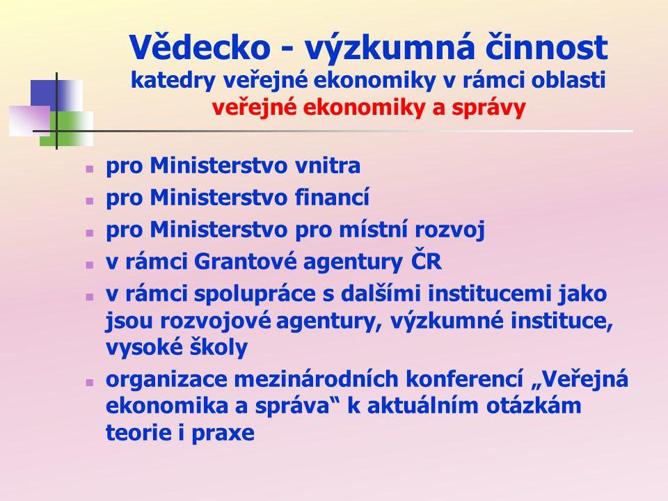 Kontakty na katedru veřejné ekonomiky a informace o oboru veřejná ekonomika správa Garant oboru a vedoucí katedry: Doc.