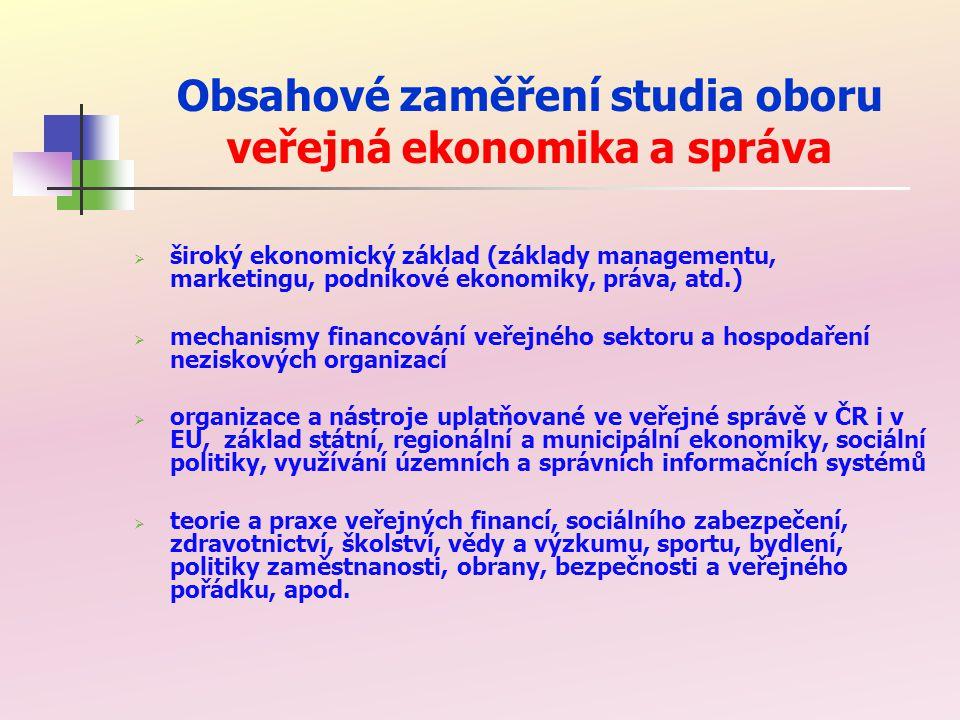 Stěžejní předměty bakalářského studia oboru veřejná ekonomika a správa veřejné finance příjmy veřejných rozpočtů hospodaření krajů a obcí sociální politika v EU veřejná správa ekonomika veřejného sektoru ekonomika neziskových organizací oceňování majetku