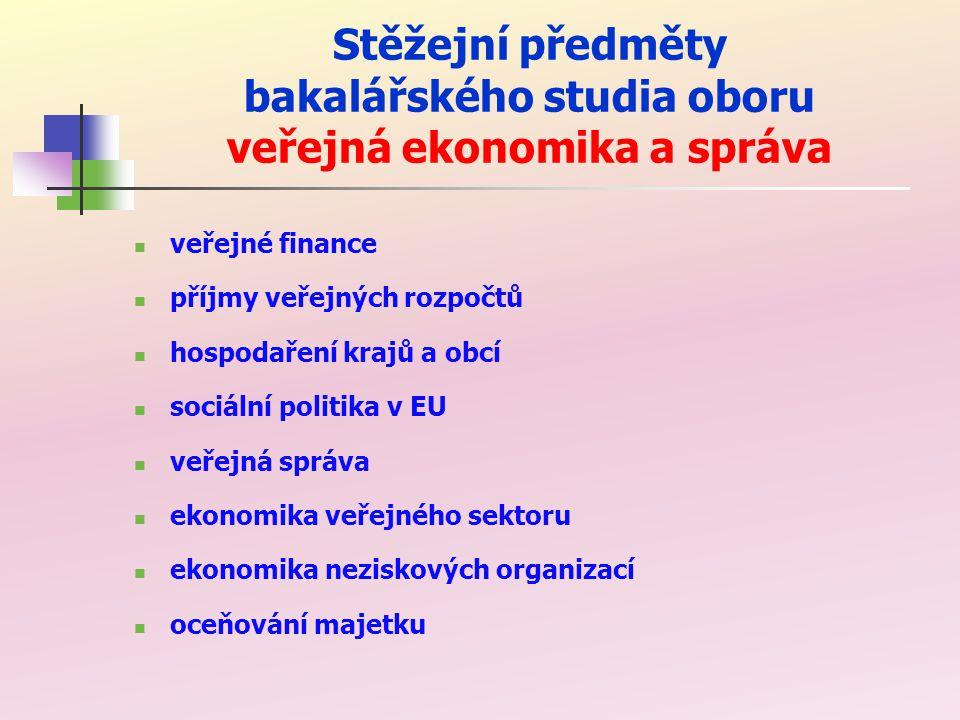 Stěžejní předměty magisterského studia oboru veřejná ekonomika a správa veřejné finance daňové teorie rozhodování ve veřejném sektoru veřejná politika ekonomika sociálního zabezpečení ekonomika zdravotnictví ekonomika vzdělání a kultury ekonomika výzkumu, vývoje a ekonomika sportu ekonomika bydlení ekonomika technické infrastruktury a správa majetku ekonomika obrany, bezpečnosti a veř.
