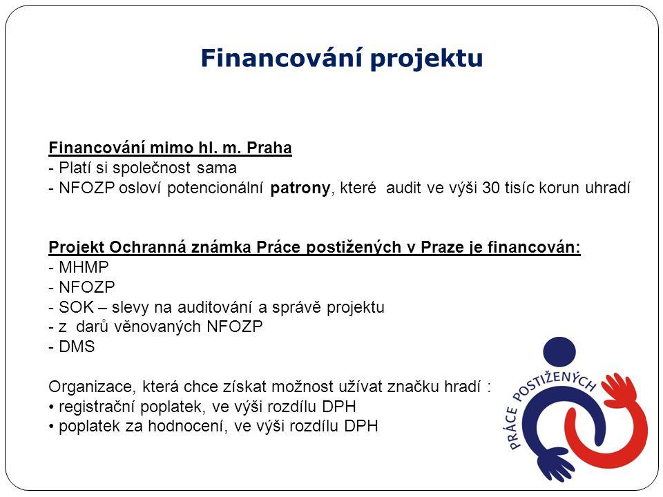 Financování projektu Financování mimo hl. m. Praha - Platí si společnost sama - NFOZP osloví potencionální patrony, které audit ve výši 30 tisíc korun