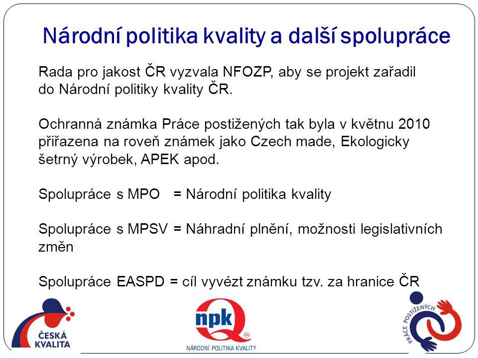 Národní politika kvality a další spolupráce Rada pro jakost ČR vyzvala NFOZP, aby se projekt zařadil do Národní politiky kvality ČR. Ochranná známka P