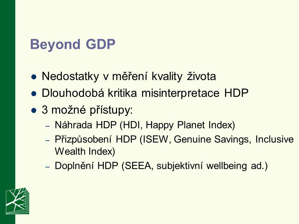 Beyond GDP Nedostatky v měření kvality života Dlouhodobá kritika misinterpretace HDP 3 možné přístupy: – Náhrada HDP (HDI, Happy Planet Index) – Přizp
