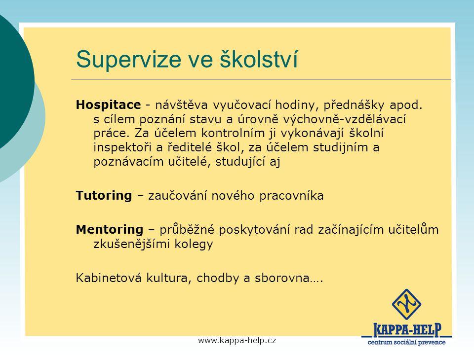 www.kappa-help.cz Supervize ve školství Hospitace - návštěva vyučovací hodiny, přednášky apod. s cílem poznání stavu a úrovně výchovně-vzdělávací prác