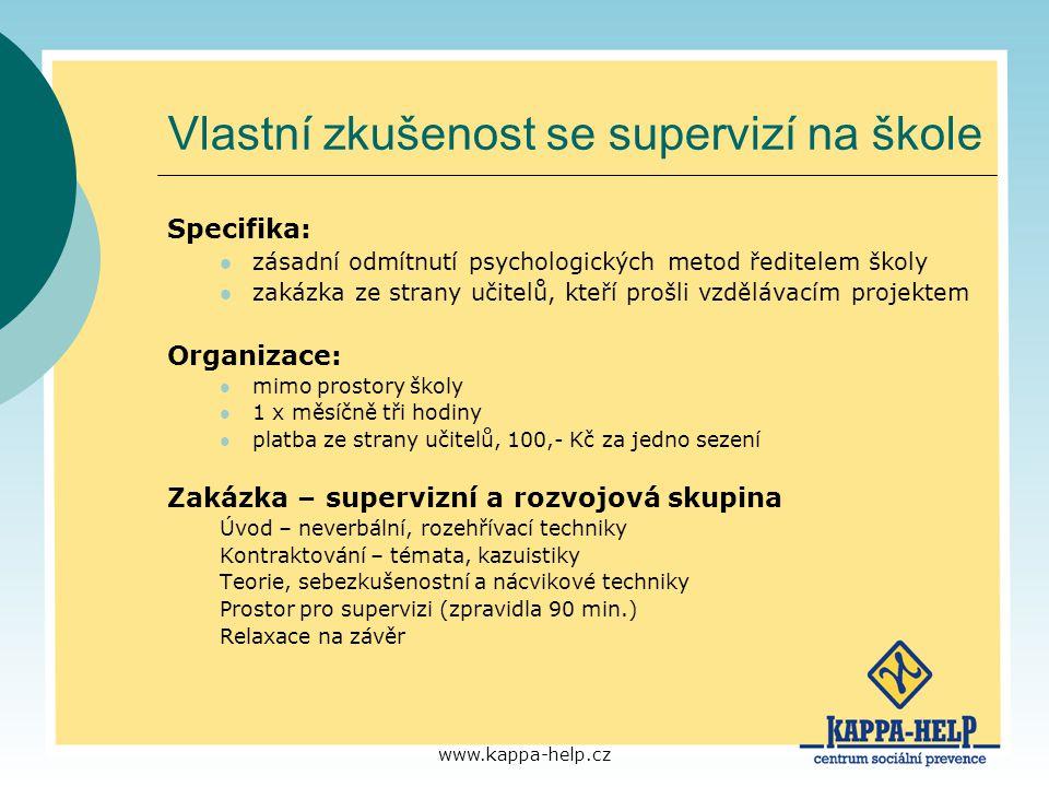 www.kappa-help.cz Vlastní zkušenost se supervizí na škole Specifika: zásadní odmítnutí psychologických metod ředitelem školy zakázka ze strany učitelů