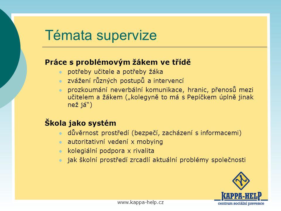 www.kappa-help.cz Témata supervize Práce s problémovým žákem ve třídě potřeby učitele a potřeby žáka zvážení různých postupů a intervencí prozkoumání