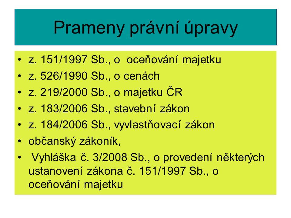 Prameny právní úpravy z. 151/1997 Sb., o oceňování majetku z.