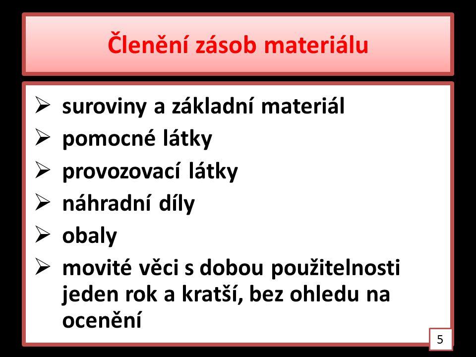Členění zásob materiálu  suroviny a základní materiál  pomocné látky  provozovací látky  náhradní díly  obaly  movité věci s dobou použitelnosti