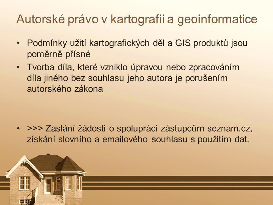 Autorské právo v kartografii a geoinformatice Podmínky užití kartografických děl a GIS produktů jsou poměrně přísné Tvorba díla, které vzniklo úpravou