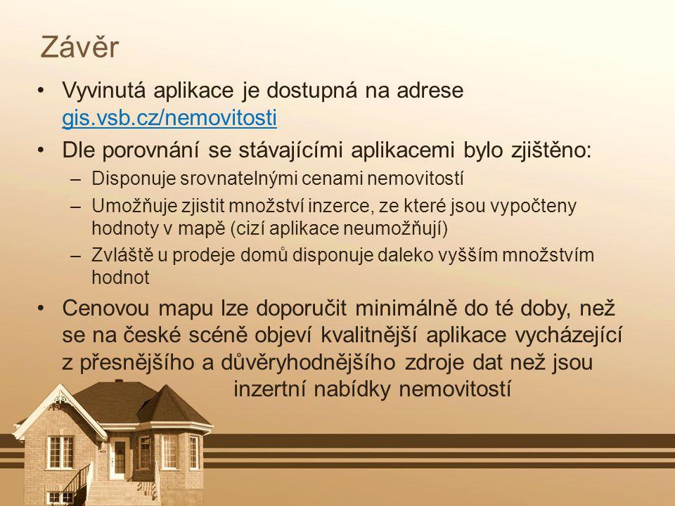 Závěr Vyvinutá aplikace je dostupná na adrese gis.vsb.cz/nemovitosti Dle porovnání se stávajícími aplikacemi bylo zjištěno: –Disponuje srovnatelnými c