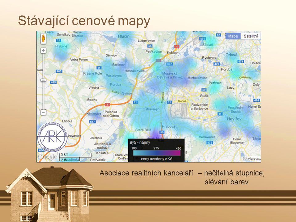 Stávající cenové mapy Asociace realitních kanceláří – nečitelná stupnice, slévání barev