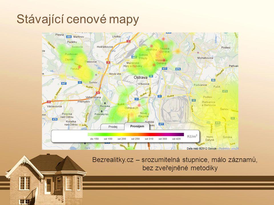 Stávající cenové mapy Bezrealitky.cz – srozumitelná stupnice, málo záznamů, bez zveřejněné metodiky