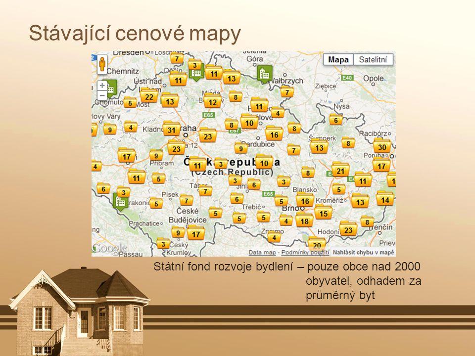 Stávající cenové mapy National home prices map – zobrazení dle kartogramů na samosprávní celky, pouze u prodeje cena za m 2