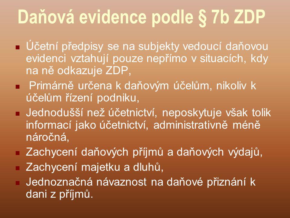 Daňová evidence podle § 7b ZDP Účetní předpisy se na subjekty vedoucí daňovou evidenci vztahují pouze nepřímo v situacích, kdy na ně odkazuje ZDP, Pri