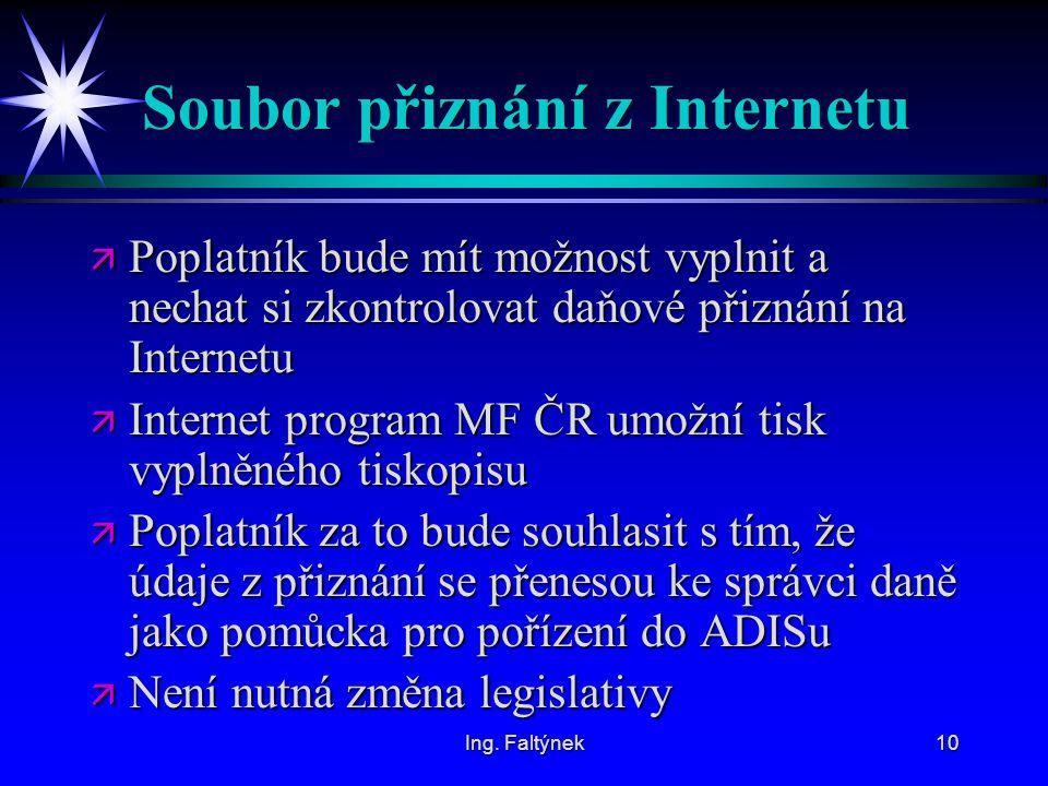 Ing. Faltýnek10 Soubor přiznání z Internetu ä Poplatník bude mít možnost vyplnit a nechat si zkontrolovat daňové přiznání na Internetu ä Internet prog