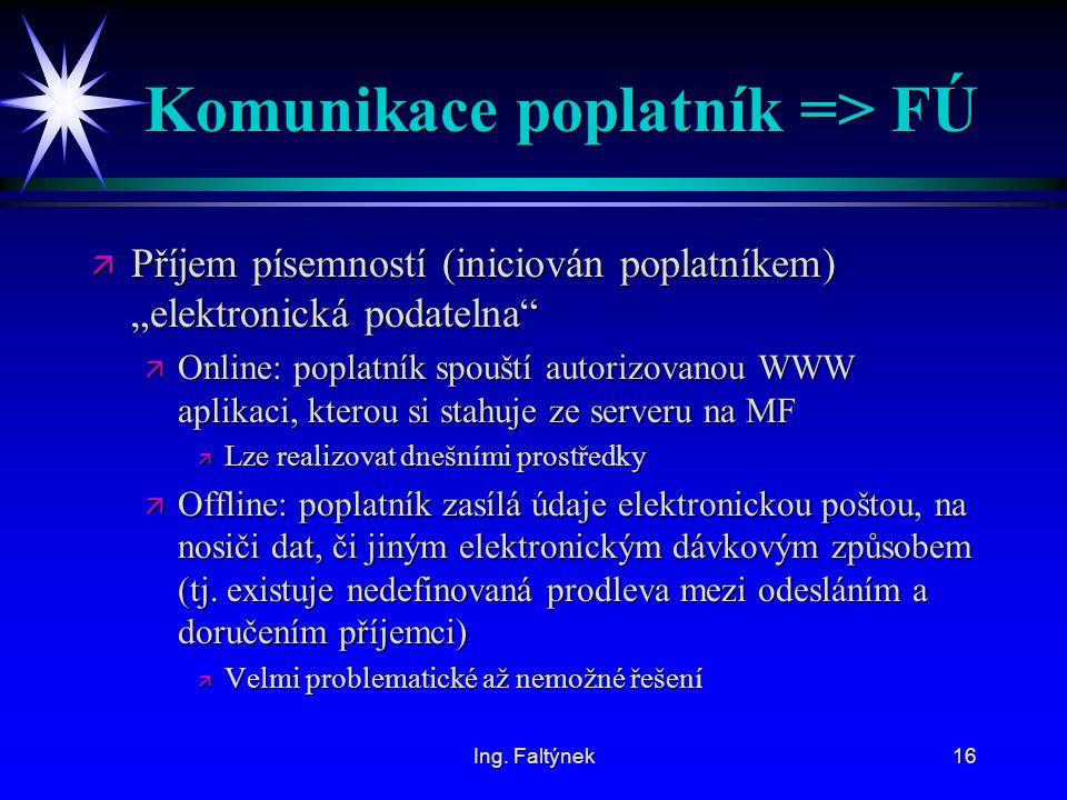 """Ing. Faltýnek16 Komunikace poplatník => FÚ ä Příjem písemností (iniciován poplatníkem) """"elektronická podatelna"""" ä Online: poplatník spouští autorizova"""