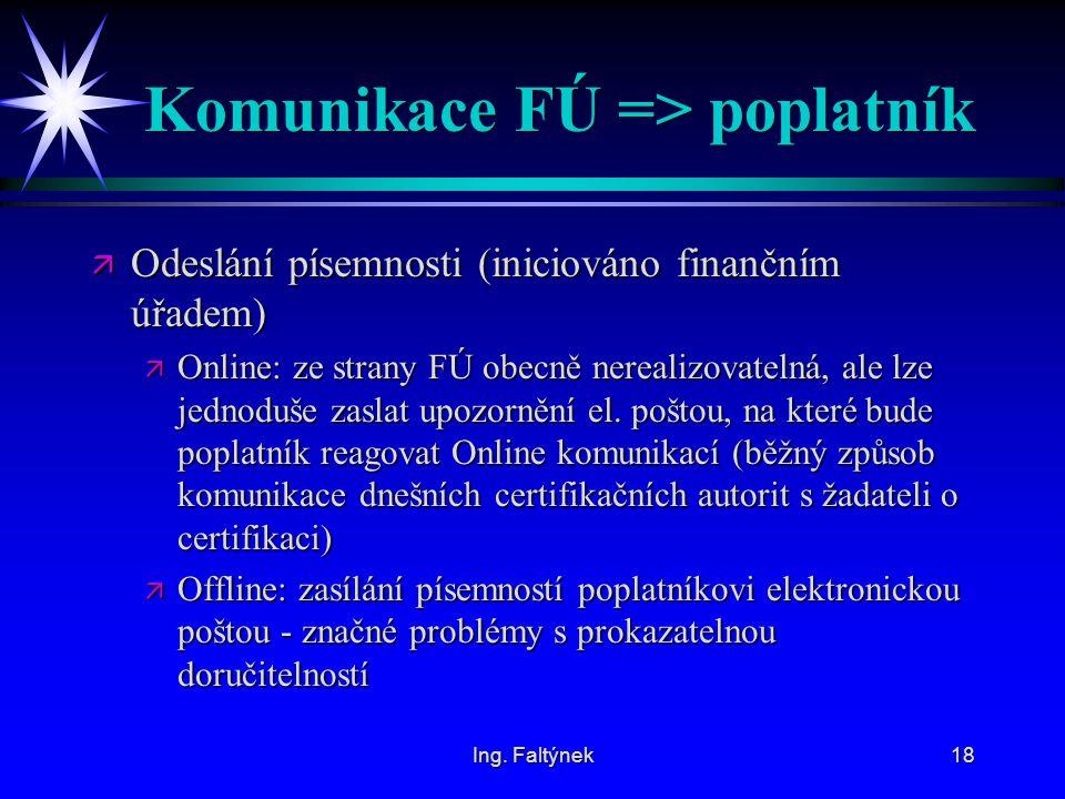 Ing. Faltýnek18 Komunikace FÚ => poplatník ä Odeslání písemnosti (iniciováno finančním úřadem) ä Online: ze strany FÚ obecně nerealizovatelná, ale lze