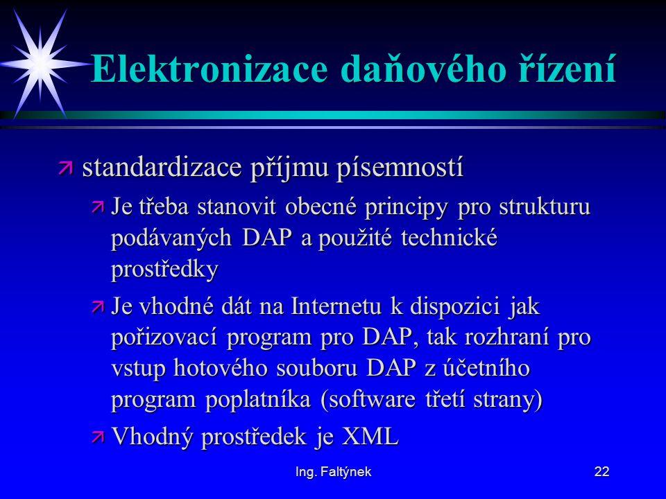 Ing. Faltýnek22 Elektronizace daňového řízení ä standardizace příjmu písemností ä Je třeba stanovit obecné principy pro strukturu podávaných DAP a pou