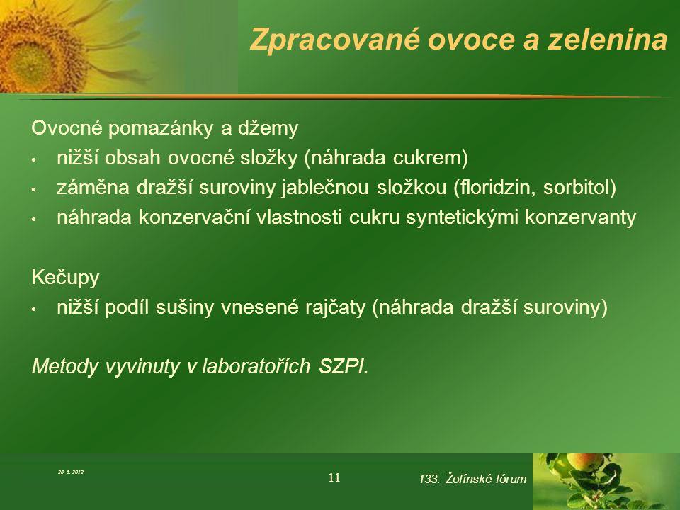 Zpracované ovoce a zelenina Ovocné pomazánky a džemy nižší obsah ovocné složky (náhrada cukrem) záměna dražší suroviny jablečnou složkou (floridzin, s