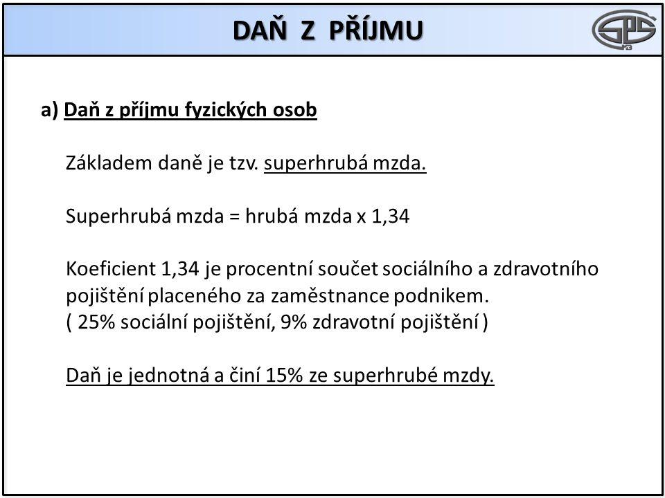 DAŇ Z PŘÍJMU a) Daň z příjmu fyzických osob Základem daně je tzv. superhrubá mzda. Superhrubá mzda = hrubá mzda x 1,34 Koeficient 1,34 je procentní so