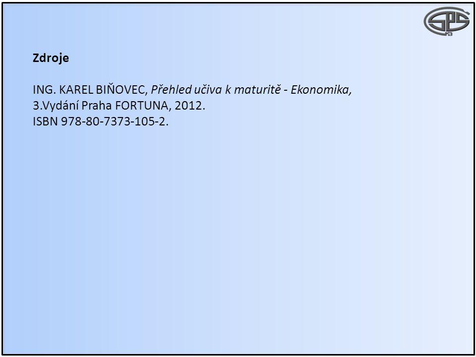 Zdroje ING. KAREL BIŇOVEC, Přehled učiva k maturitě - Ekonomika, 3.Vydání Praha FORTUNA, 2012. ISBN 978-80-7373-105-2.