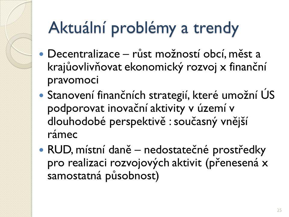 Aktuální problémy a trendy Decentralizace – růst možností obcí, měst a krajůovlivňovat ekonomický rozvoj x finanční pravomoci Stanovení finančních str