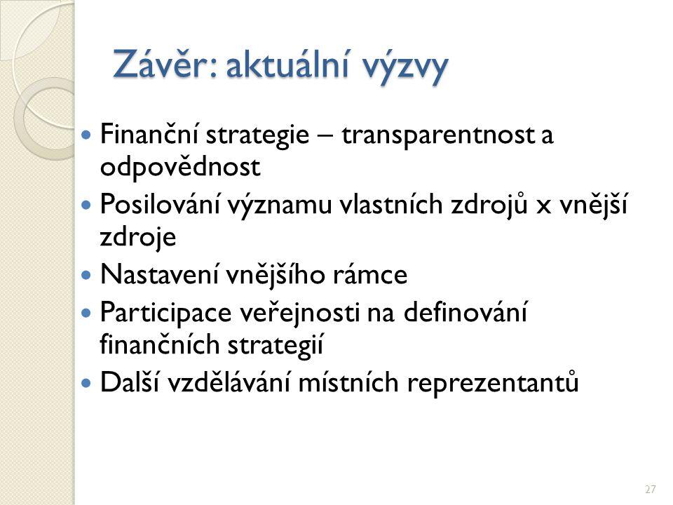 Závěr: aktuální výzvy Finanční strategie – transparentnost a odpovědnost Posilování významu vlastních zdrojů x vnější zdroje Nastavení vnějšího rámce