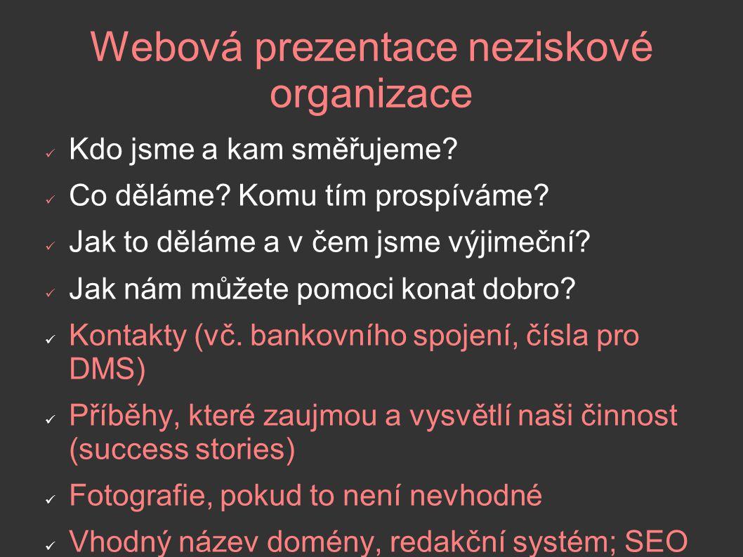 Webová prezentace neziskové organizace Kdo jsme a kam směřujeme.