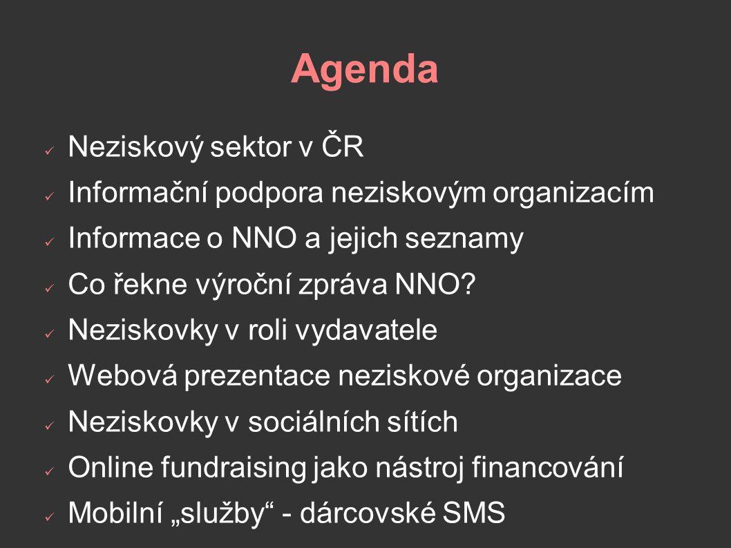 Agenda Neziskový sektor v ČR Informační podpora neziskovým organizacím Informace o NNO a jejich seznamy Co řekne výroční zpráva NNO.