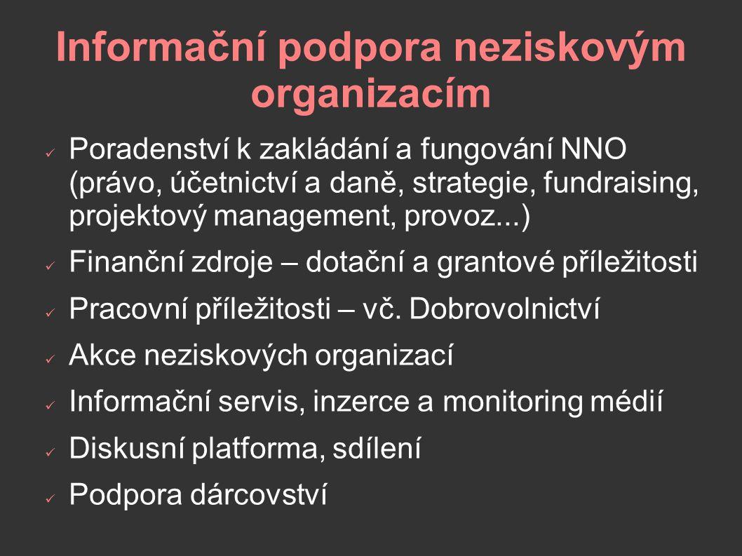Informační podpora neziskovým organizacím Poradenství k zakládání a fungování NNO (právo, účetnictví a daně, strategie, fundraising, projektový management, provoz...) Finanční zdroje – dotační a grantové příležitosti Pracovní příležitosti – vč.