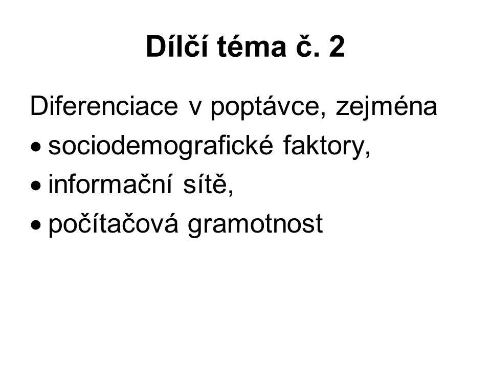 Dílčí téma č. 2 Diferenciace v poptávce, zejména  sociodemografické faktory,  informační sítě,  počítačová gramotnost
