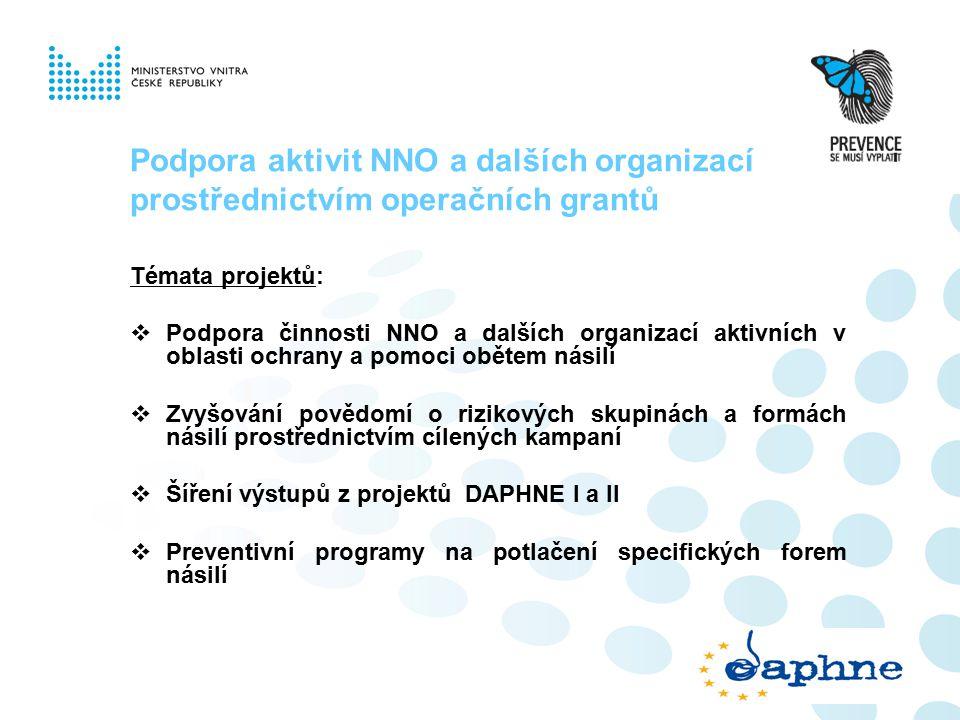 Podpora aktivit NNO a dalších organizací prostřednictvím operačních grantů Témata projektů:  Podpora činnosti NNO a dalších organizací aktivních v oblasti ochrany a pomoci obětem násilí  Zvyšování povědomí o rizikových skupinách a formách násilí prostřednictvím cílených kampaní  Šíření výstupů z projektů DAPHNE I a II  Preventivní programy na potlačení specifických forem násilí