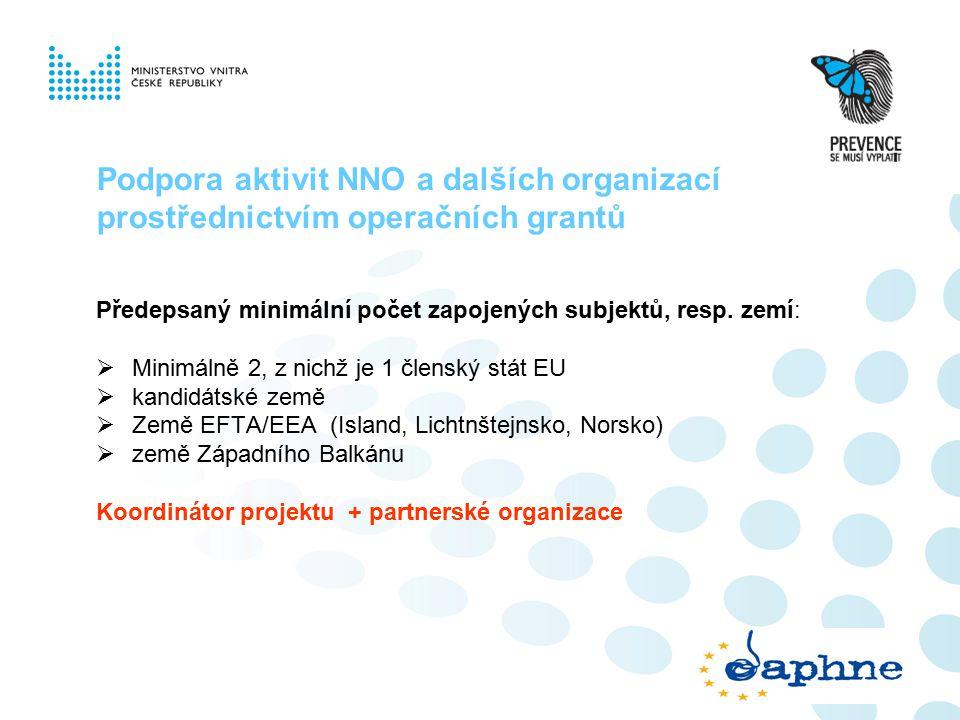 Podpora aktivit NNO a dalších organizací prostřednictvím operačních grantů Předepsaný minimální počet zapojených subjektů, resp.