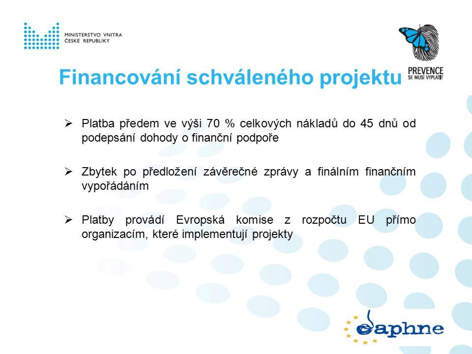 Financování schváleného projektu  Platba předem ve výši 70 % celkových nákladů do 45 dnů od podepsání dohody o finanční podpoře  Zbytek po předložení závěrečné zprávy a finálním finančním vypořádáním  Platby provádí Evropská komise z rozpočtu EU přímo organizacím, které implementují projekty