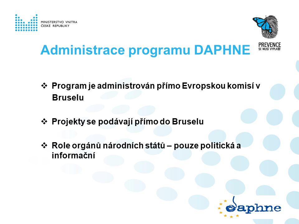 Administrace programu DAPHNE  Program je administrován přímo Evropskou komisí v Bruselu  Projekty se podávají přímo do Bruselu  Role orgánů národních států – pouze politická a informační