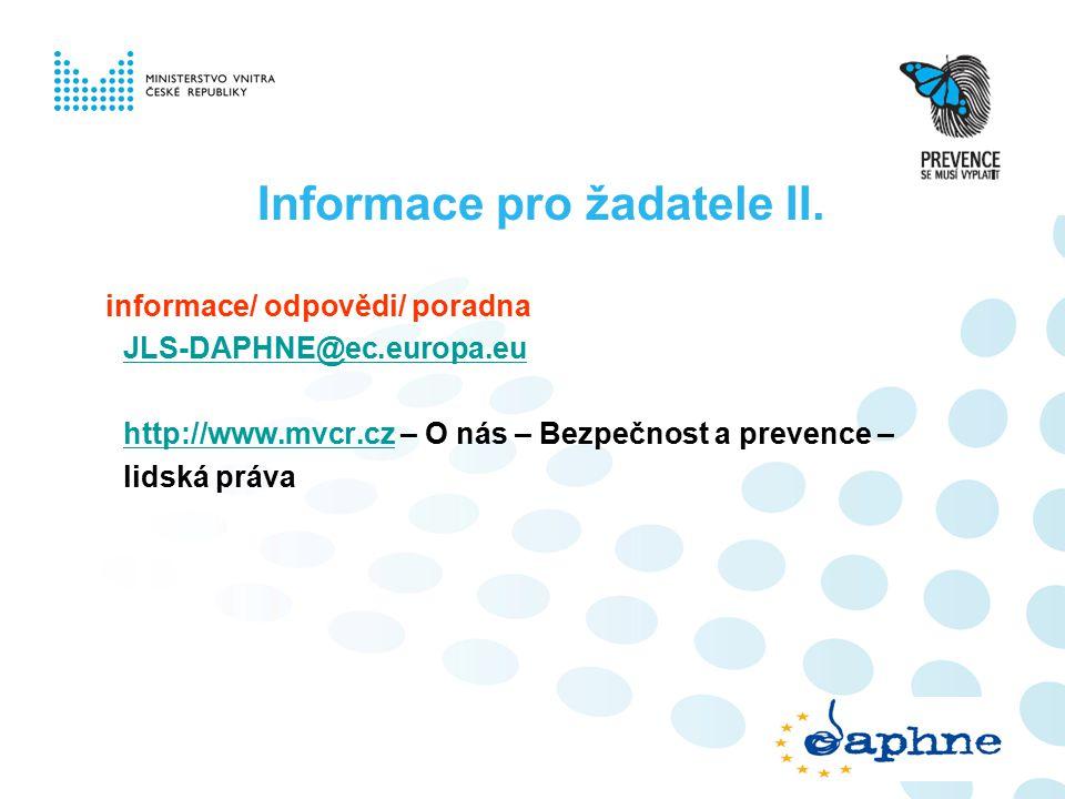Informace pro žadatele II.