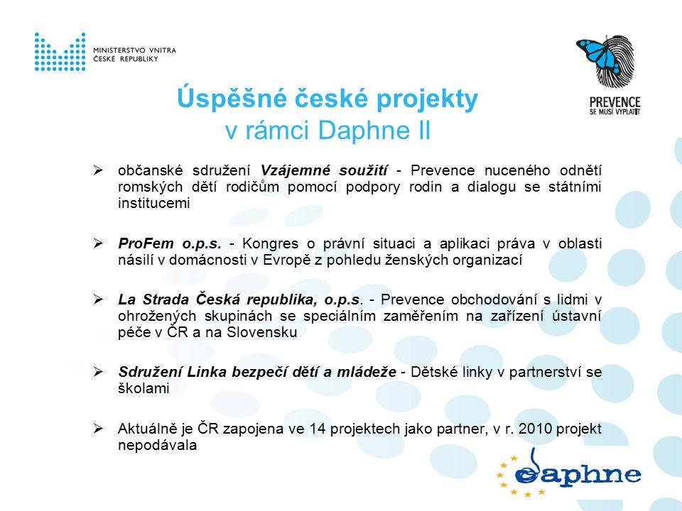 Úspěšné české projekty v rámci Daphne II  občanské sdružení Vzájemné soužití - Prevence nuceného odnětí romských dětí rodičům pomocí podpory rodin a dialogu se státními institucemi  ProFem o.p.s.